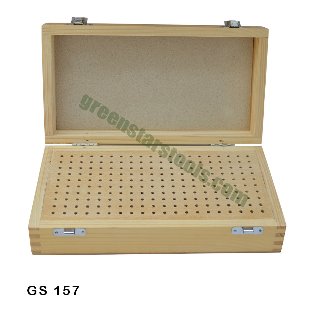 Holds 100 Burs help to store stone setting burrs Wooden Box for Burs stone set